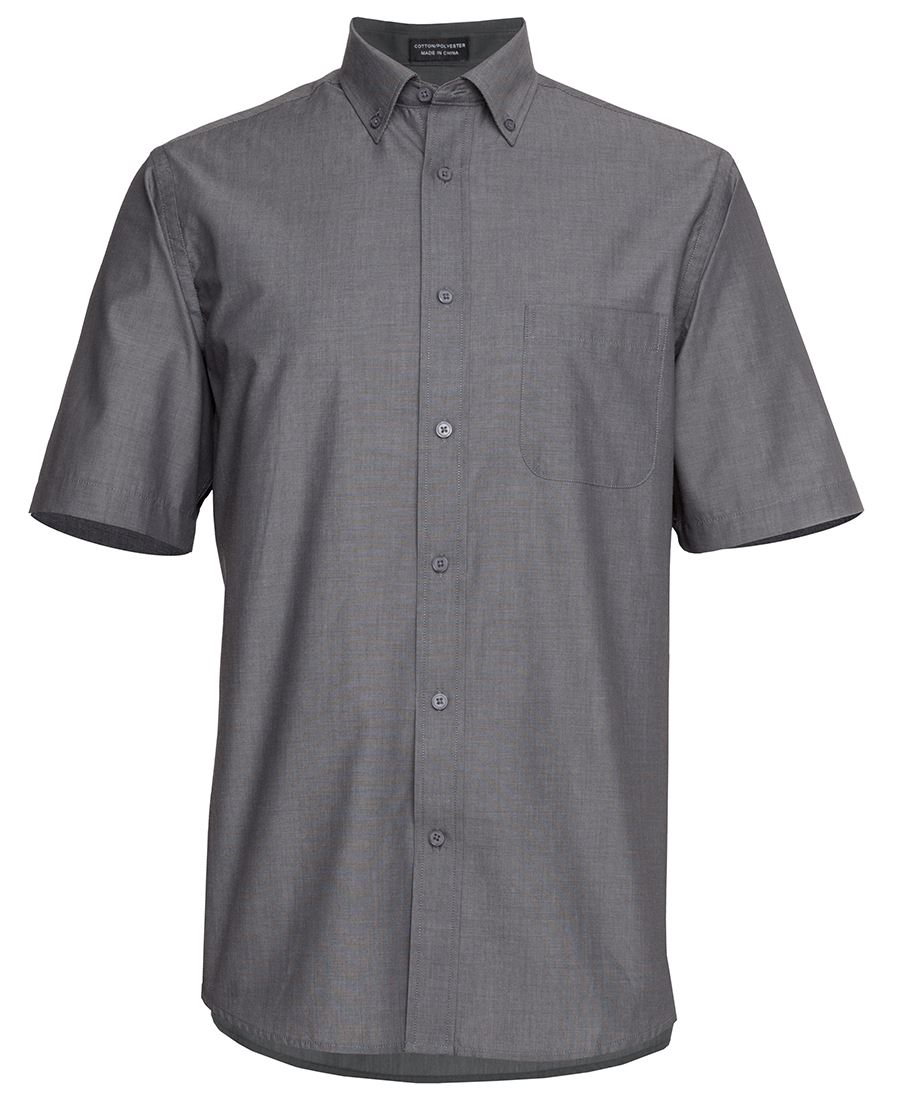 Mens Relaxed Fit Short Sleeve Shirt Charcoal Front