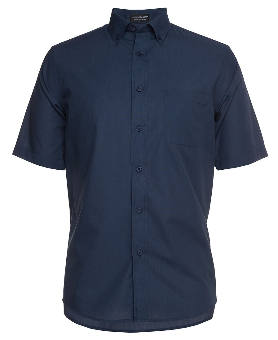 Mens Relaxed Fit Short Sleeve Shirt Navy Front