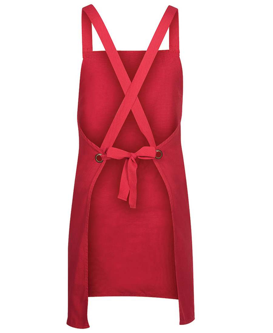 Cross Back Canvas Apron Red Back