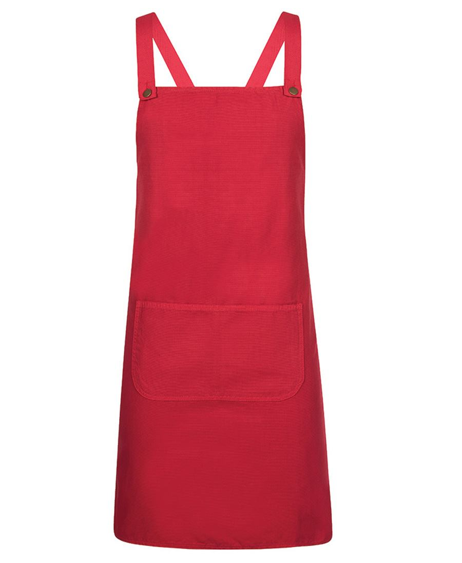Cross Back Canvas Apron Red Front