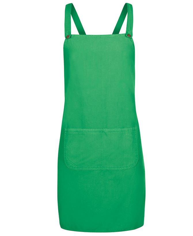 Cross Back Canvas Apron Green Front