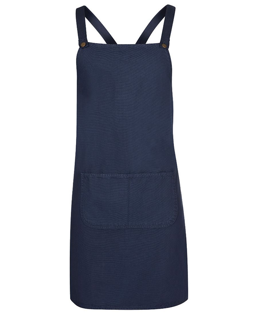 Cross Back Canvas Apron Navy Front