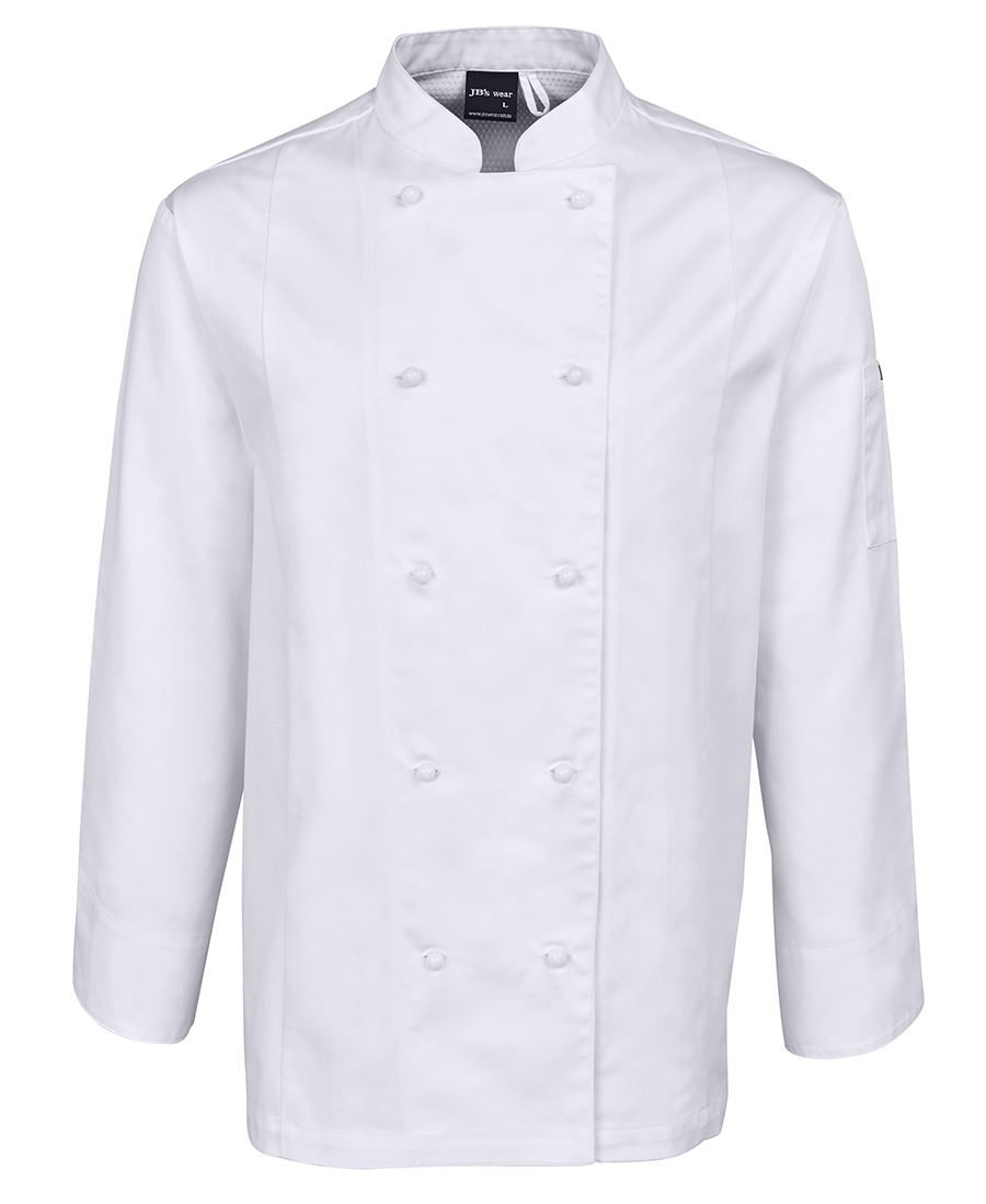 Mens Chefs Long Sleeve Jacket White Front