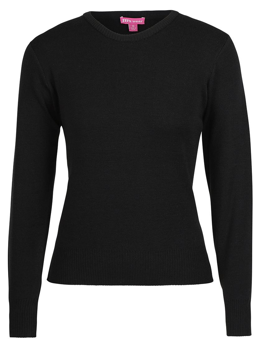 Ladies Knitted Crew Neck Jumper Black Front
