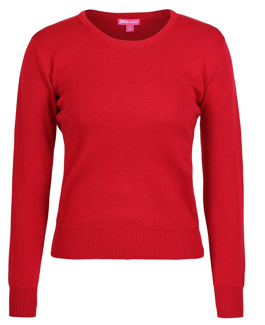 Ladies Knitted Crew Neck Jumper Red Front