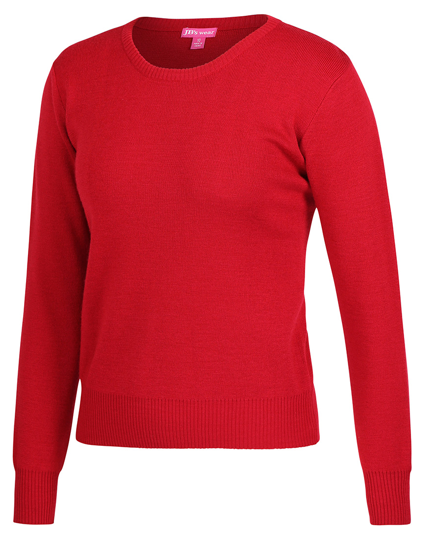 Ladies Knitted Crew Neck Jumper Red