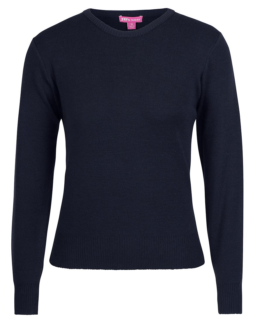 Ladies Knitted Crew Neck Jumper Navy Front