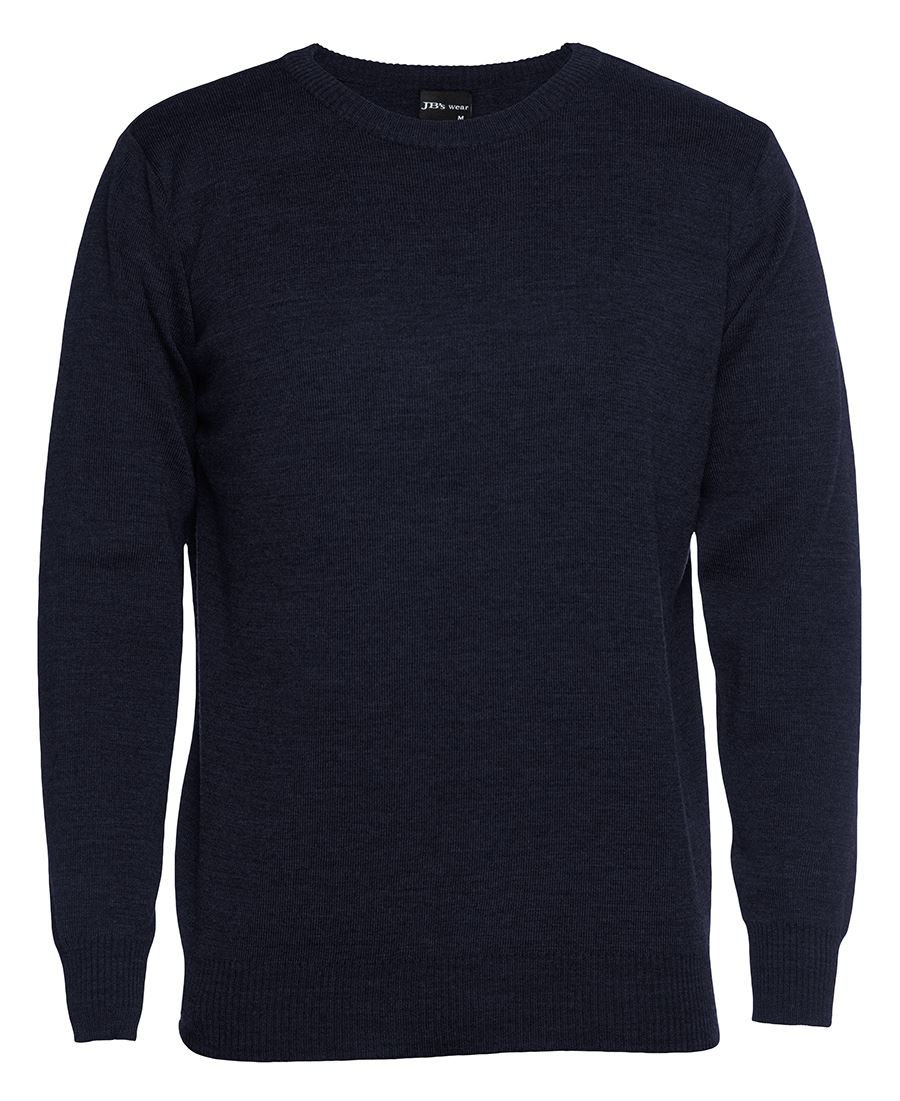 Mens Knitted Crew Neck Jumper Navy Front