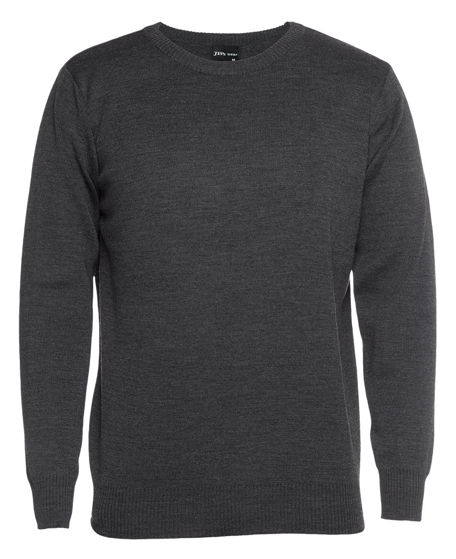 Mens Knitted Crew Neck Jumper Charcoal Front