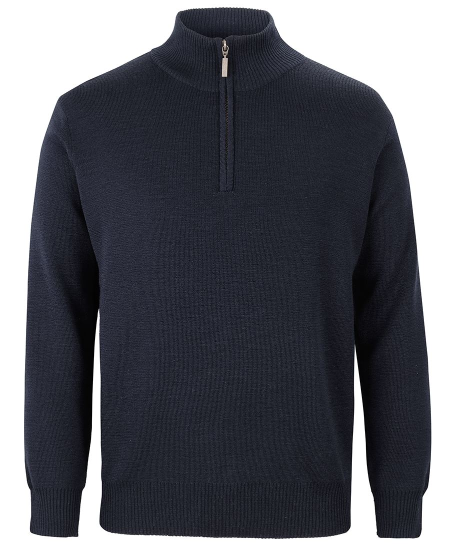 Mens Knitted 1/2 Zip Jumper Navy Front