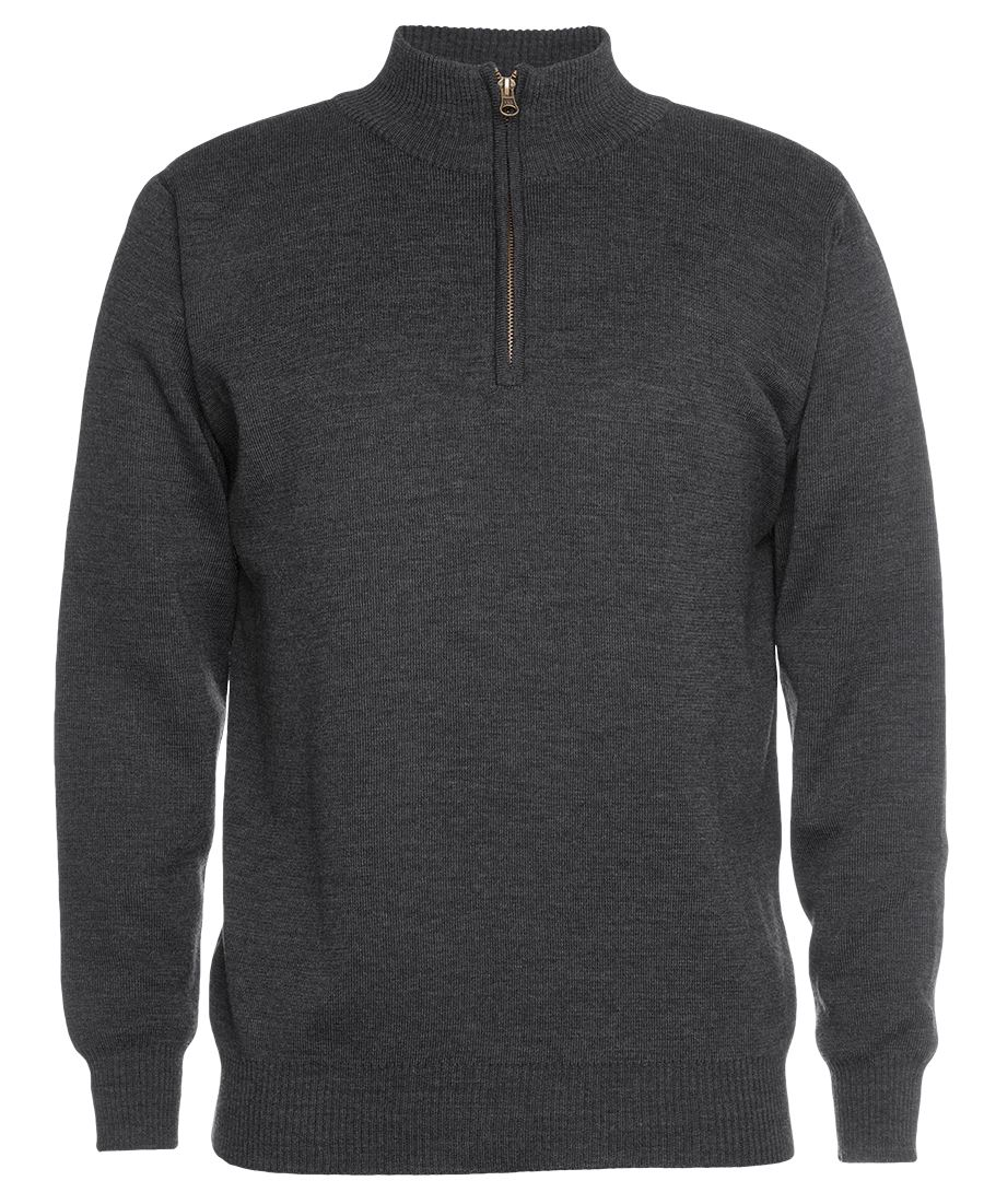 Mens Knitted 1/2 Zip Jumper Charcoal Front