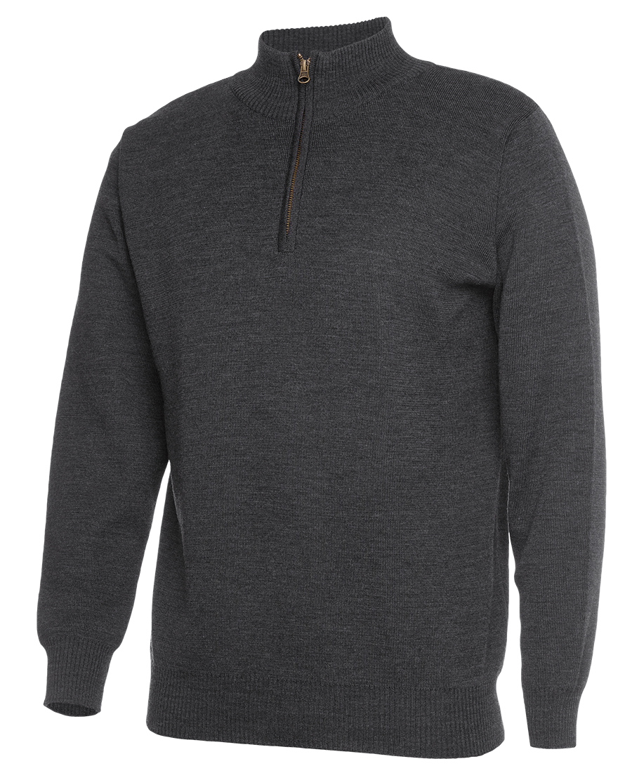 Mens Knitted 1/2 Zip Jumper Charcoal
