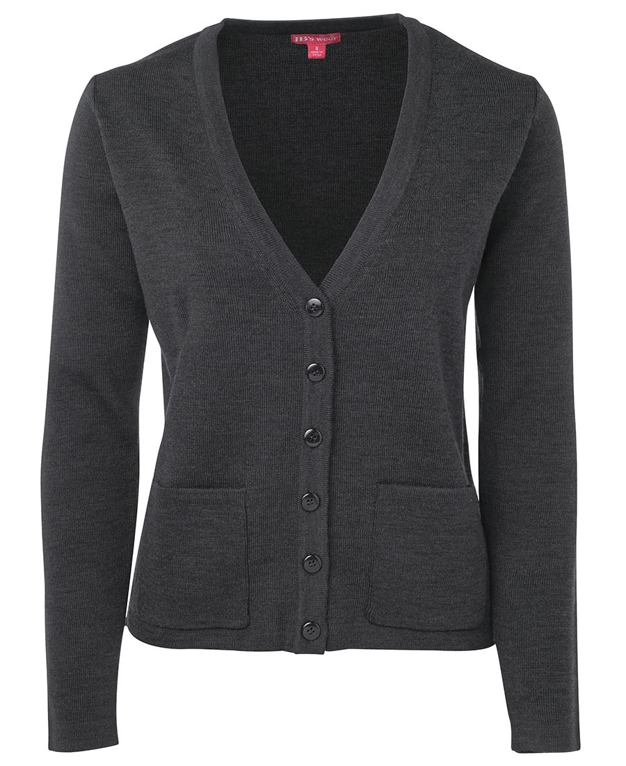 Ladies Knitted Cardigan Charcoal Front