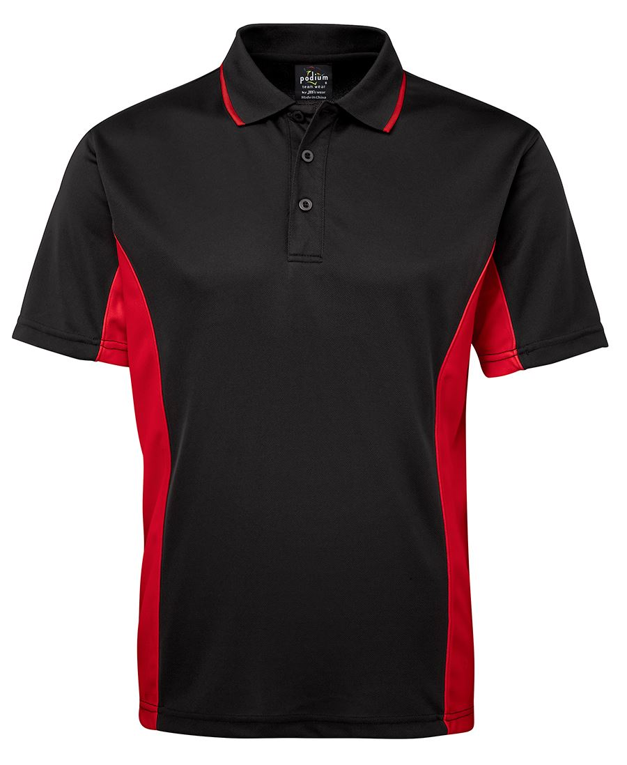 Short Sleeve Contrast Polo Black/Red
