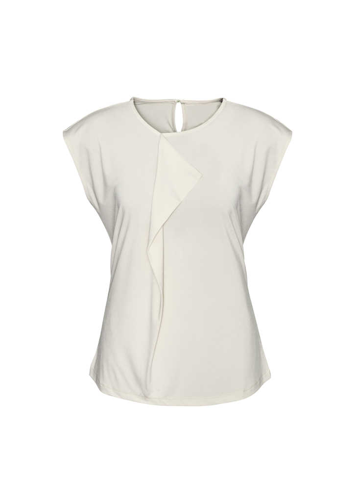Ladies Pleat Knit Top Ivory Front