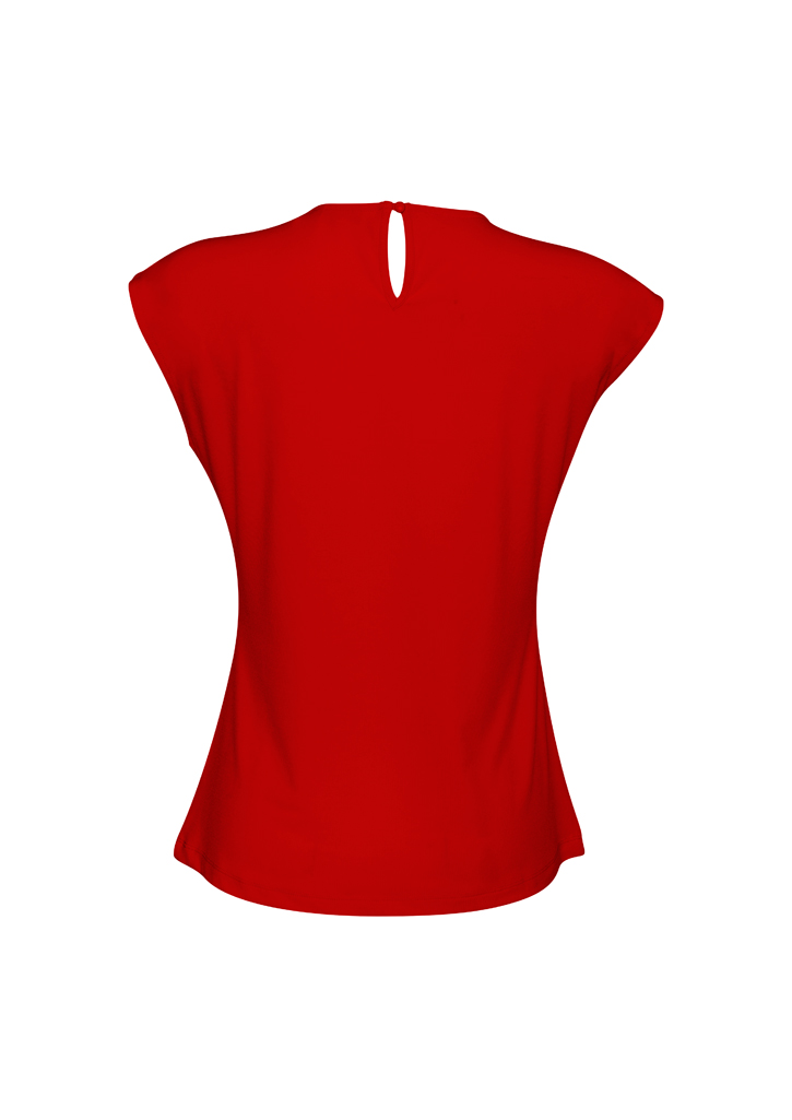 Ladies Pleat Knit Top Red Back