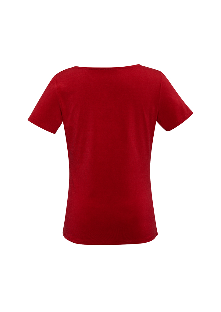 Ladies Drape Knit Top Red Back