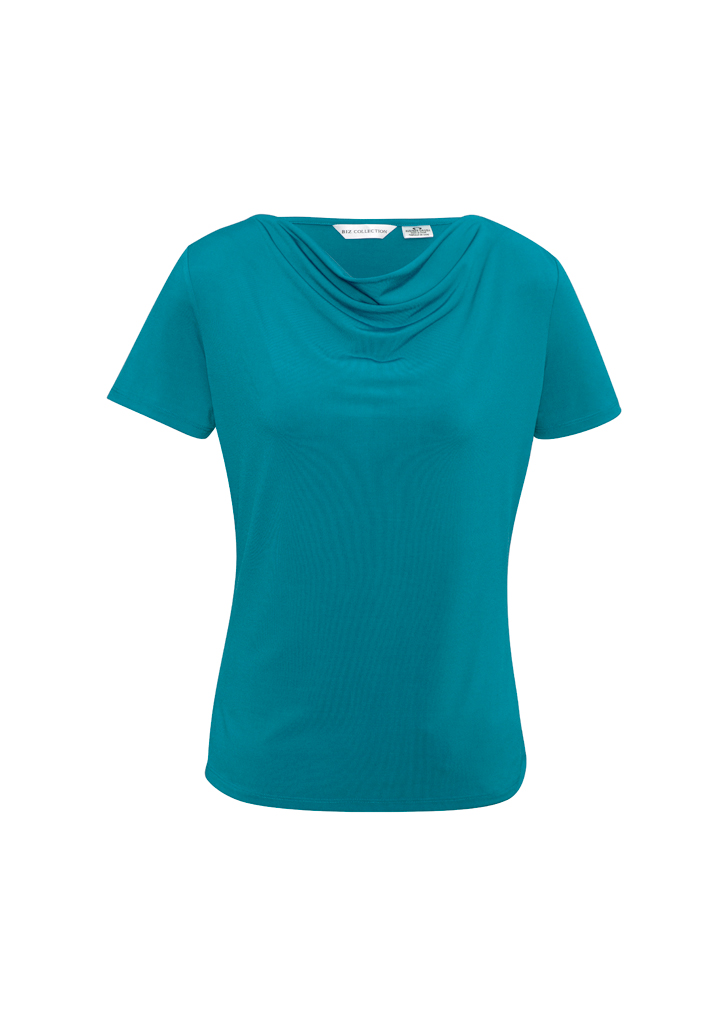 Ladies Drape Knit Top Teal Front