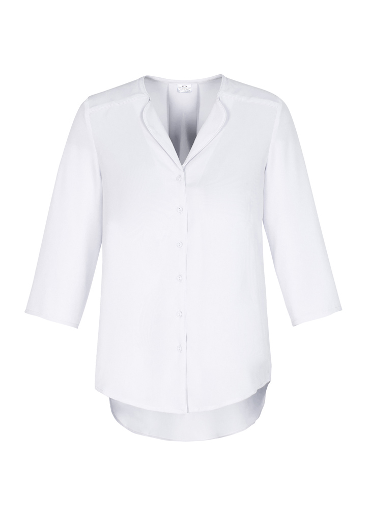 Ladies Longline 3/4 Sleeve Blouse White Front