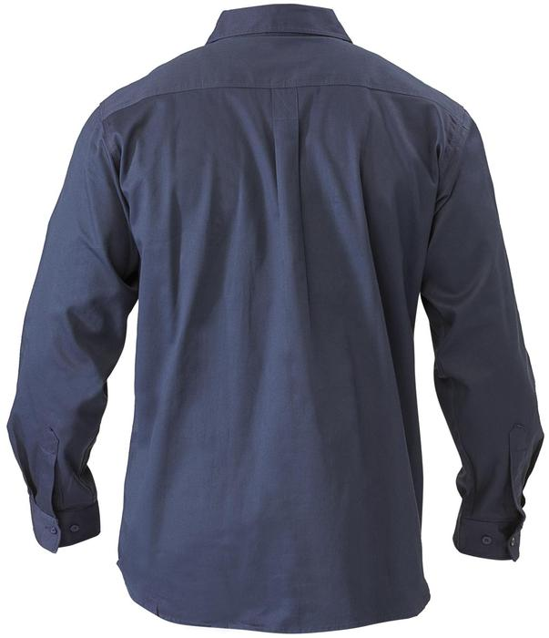 Long Sleeve Closed Front Cotton Drill Shirt - Navy
