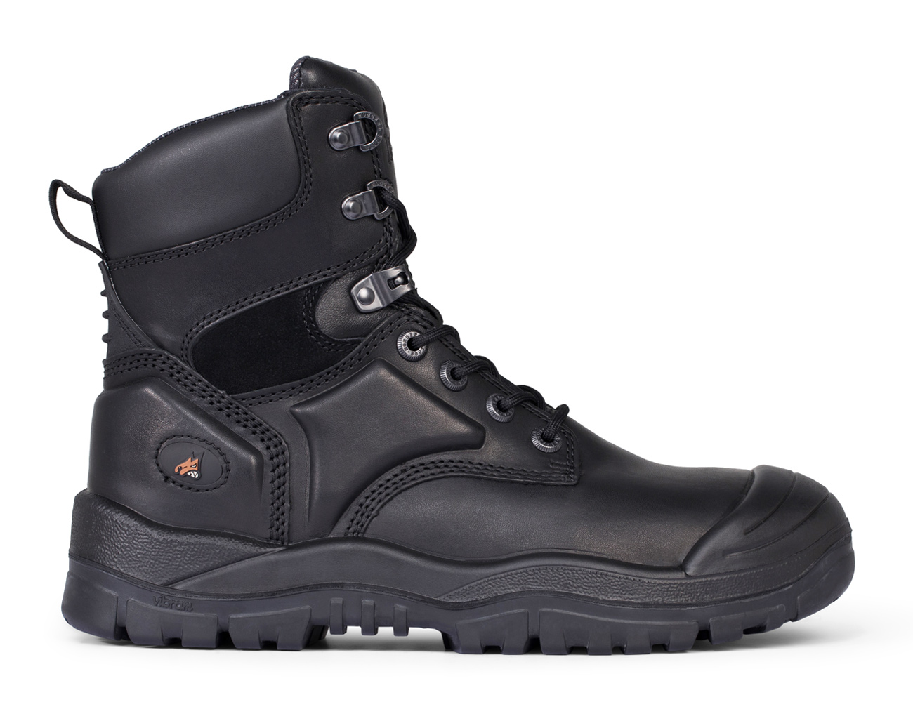 High Leg Lace Up Boot With Scuff Cap - Black