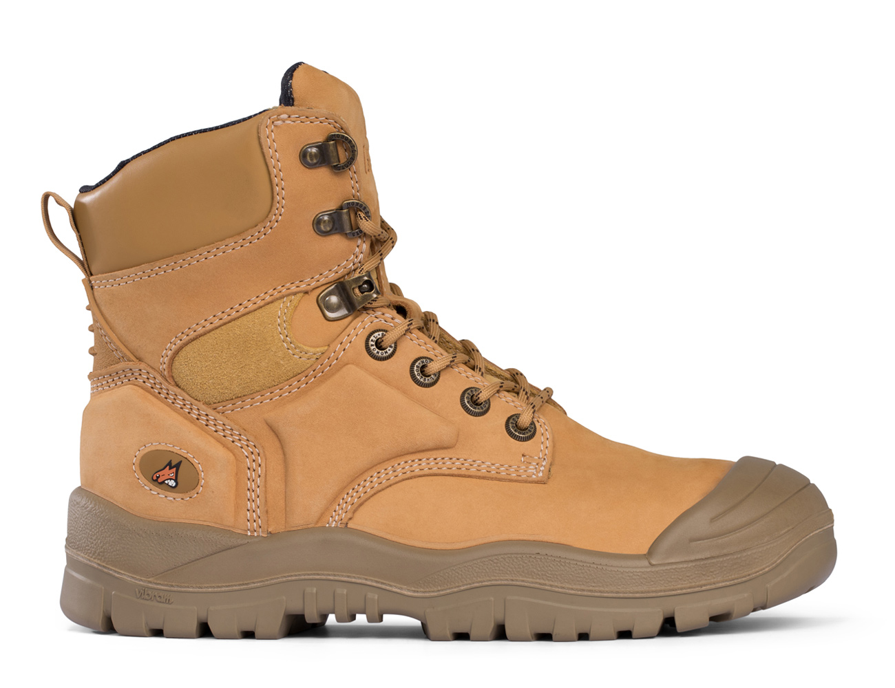 High Leg Lace Up Boot With Scuff Cap - Tan