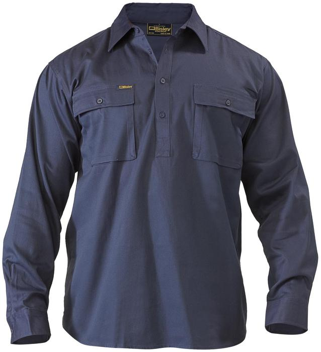 Long Sleeve Closed Front Cotton Drill Shirt - Navy Front