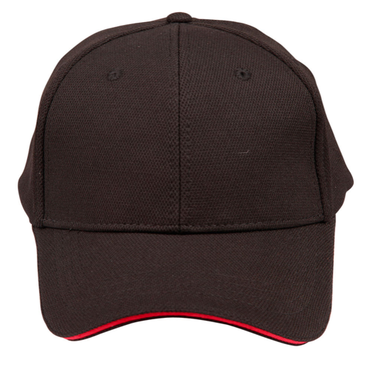 Pique Mesh With Contrast Sandwich - Black/Red