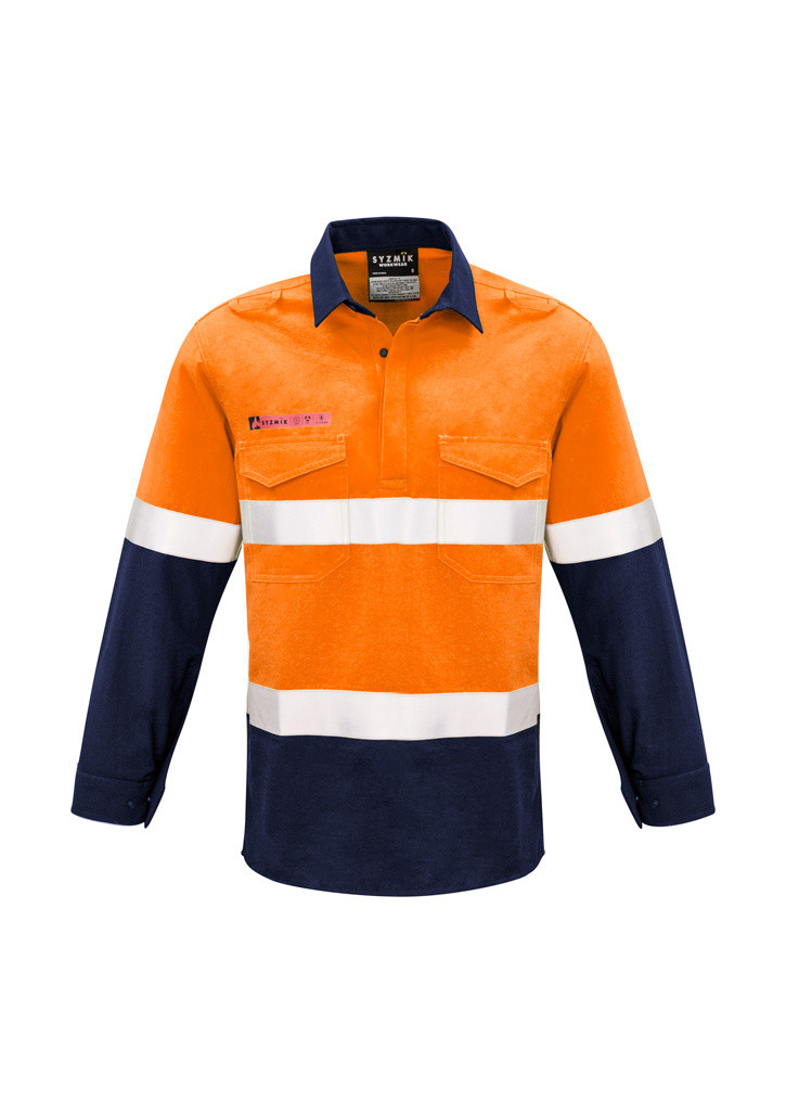 Closed Front Hooped Taped Spliced Shirt - Orange/Navy