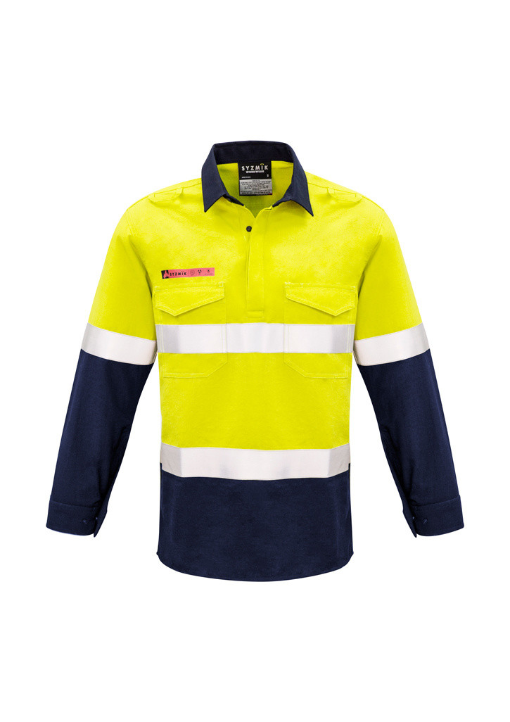 Closed Front Hooped Taped Spliced Shirt Yellow/Navy