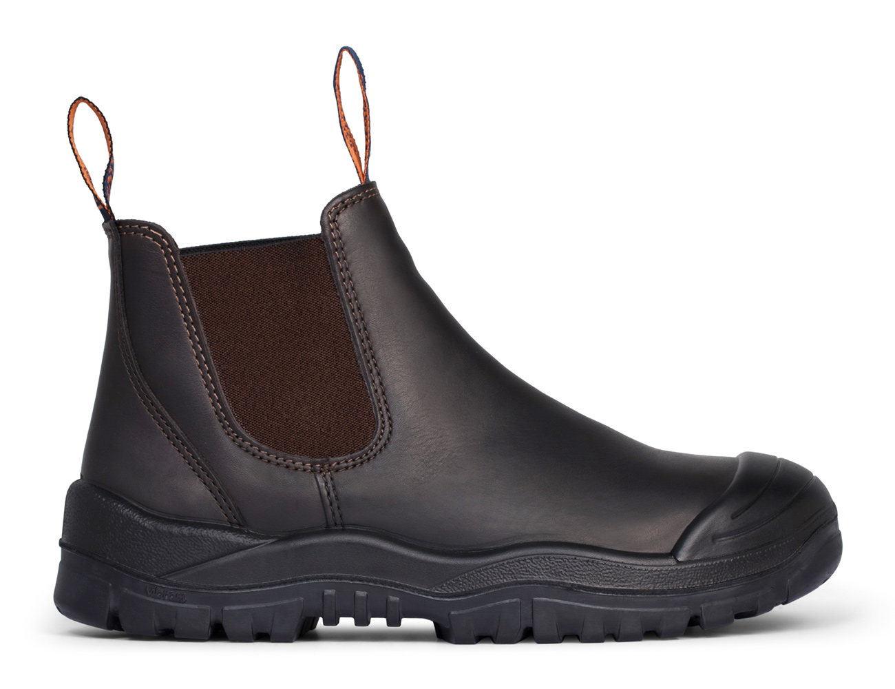 Elastic Sided Boot with Scuff Cap - Brown